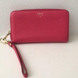 Fossil Large Pink Leather Wallet / wristlet